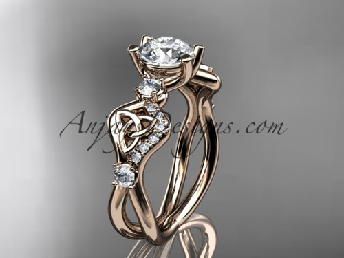 "14kt rose gold celtic trinity knot engagement ring, wedding ring with a ""Forever One"" Moissanite center stone CT768"