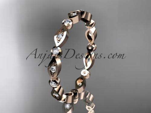14k rose gold diamond leaf and vine wedding band,engagement ring ADLR11B