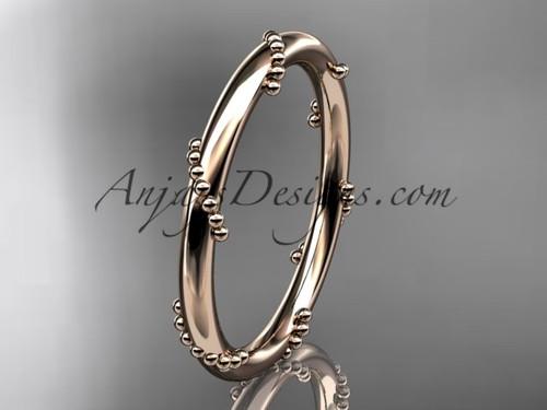 14k rose gold engagement ring, wedding band ADLR502G