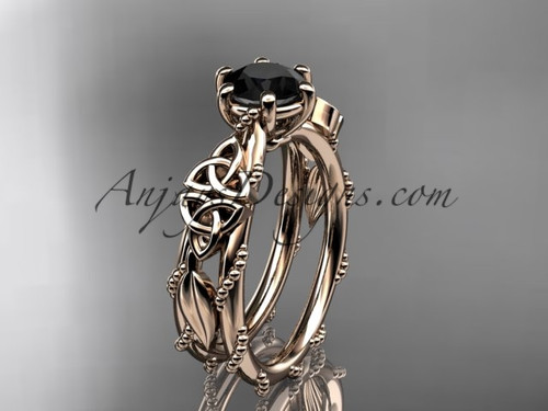 14kt rose gold celtic trinity knot engagement ring , wedding ring with a Black Diamond center stone CT766
