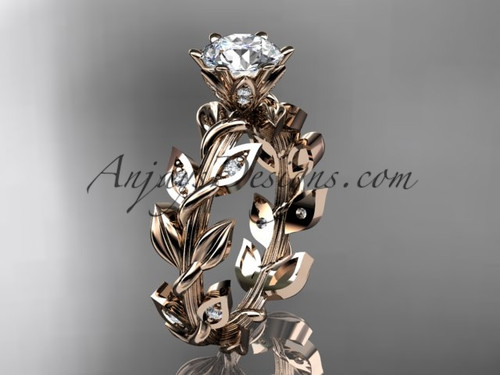 """14k rose gold diamond leaf and vine engagement ring with a """"Forever One"""" Moissanite center stone ADLR124"""