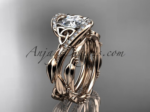 """14kt rose gold celtic trinity knot engagement set, wedding ring with """"Forever One"""" Moissanite center stone CT764"""