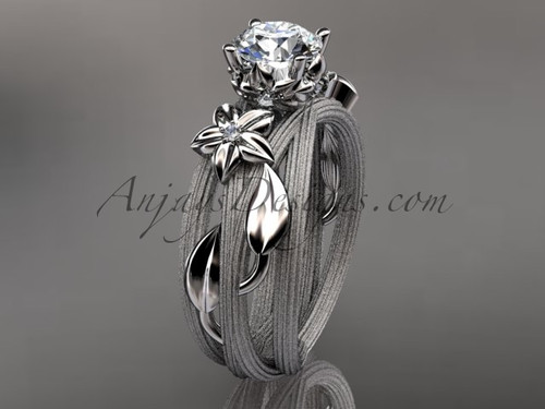 "14kt white gold diamond floral, leaf and vine wedding ring, engagement ring with a ""Forever One"" Moissanite center stone ADLR253"
