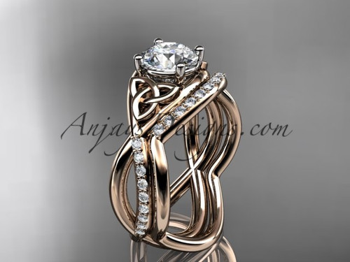 """14kt rose gold celtic trinity knot engagement set, wedding ring with a """"Forever One"""" Moissanite center stone CT790S"""