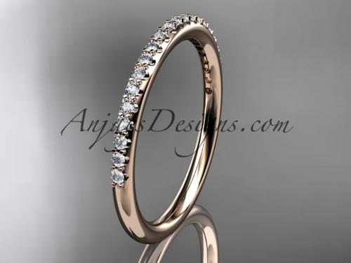 14k rose gold diamond unique wedding ring, engagement ring, wedding band, stacking ring ADER103B