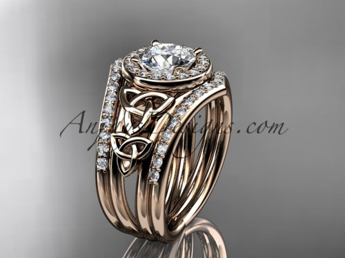 """14kt rose gold diamond celtic trinity knot wedding ring, engagement ring with a """"Forever One"""" Moissanite center stone and double matching band CT7131S"""