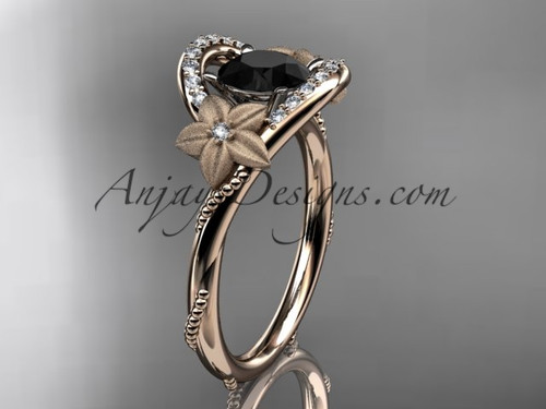 14kt rose gold diamond unique engagement ring with a Black Diamond center stone ADLR166