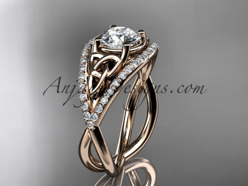"14kt rose gold celtic trinity knot engagement ring ,diamond wedding ring with ""Forever One"" Moissanite center stone CT788"