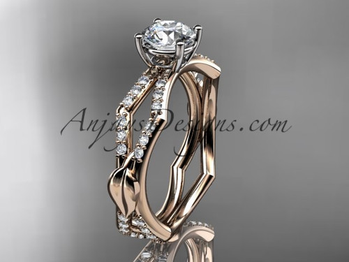 "14k rose gold diamond leaf and vine wedding ring,engagement ring with a ""Forever One"" Moissanite center stone ADLR353"