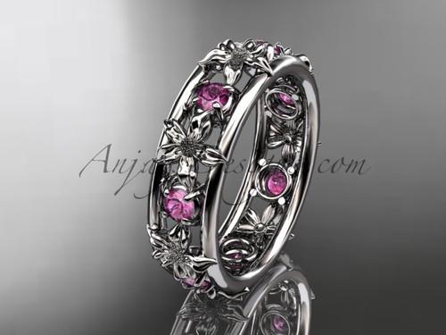 14kt white gold diamond leaf wedding ring, engagement ring, wedding band ADLR160B nature inspired jewelry 1