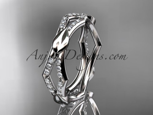 14k white gold diamond leaf and vine wedding band,engagement ring ADLR353B