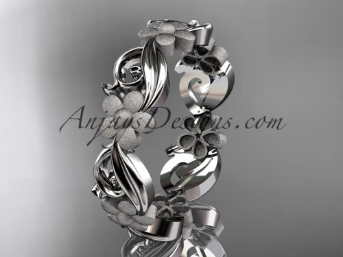 platinum flower wedding ring, engagement ring, wedding band ADLR191G