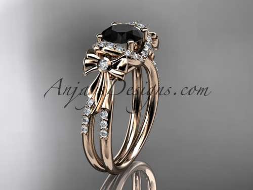 14kt rose gold diamond unique engagement ring, bow ring, wedding ring with a Black Diamond center stone ADER155