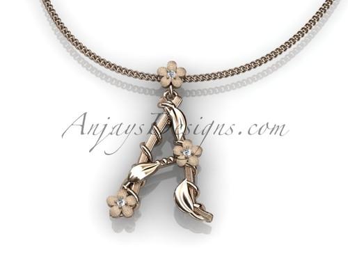 14k rose gold diamond floral, leaf and vine initial pendant ADLR196