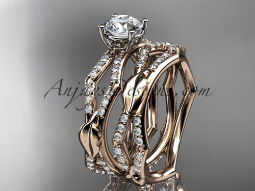 "14k rose gold diamond leaf and vine wedding ring, engagement set with a ""Forever One"" Moissanite center stone ADLR353S"