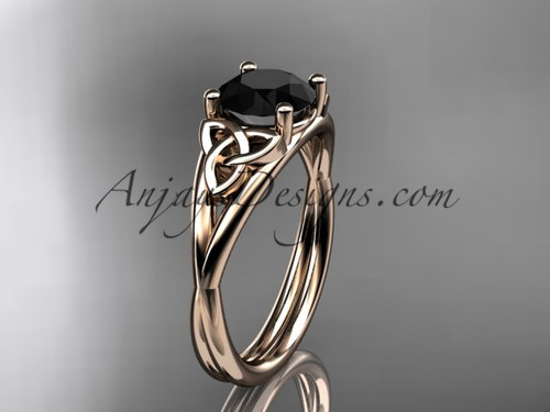 14kt rose gold celtic trinity knot wedding ring, engagement ring with a Black Diamond center stone CT7189
