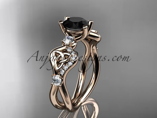 14kt rose gold celtic trinity knot engagement ring, wedding ring with a Black Diamond center stone CT768