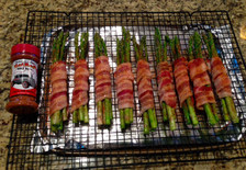 Bacon wrapped Asparagus with a sprinkle of HotRod BBQ Rub