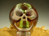 Phantom Skull Glass Art Marble by Elly 3/D Orb Silver, Gold, Red Boro-sphere VGW