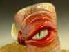 Hand blown Shot Glass Flameworked Art Horny Monster eye by Eli Mazet (ready to ship) Red