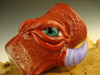 Hand blown Shot Glass Flameworked Art Horny 3 eyed Monster by Eli Mazet (ready to ship) Red