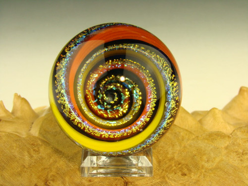 Dichroic Glass Vortex Marble Illussion Art Fibonacci Spiral by Tim Mazet VGW