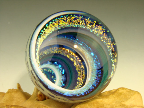 Dichroic Glass Vortex Marble Illussion Art Fibonacci Spiral by Tim Mazet VGW Rainbow, White, and aqua