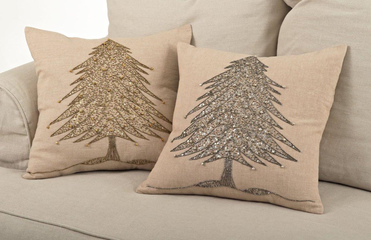 Sapin De Noël Beaded Christmas Tree Design Throw Pillows