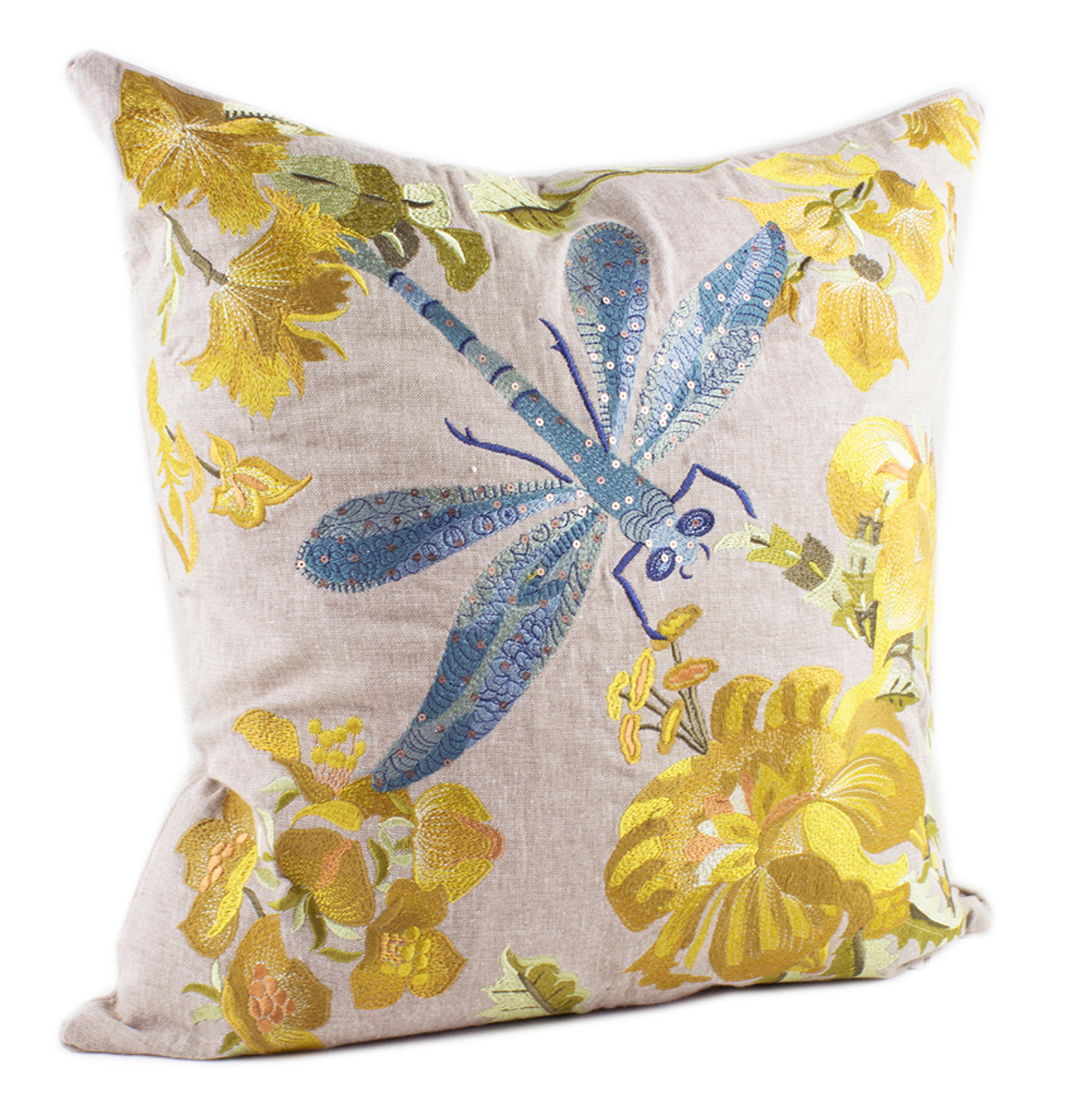 Embroidered Collection Decorative Throw Pillow, Filler Included, 18-Inch Square (100% Cotton ...