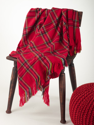 Classic Red Plaid Design Throw Blanket