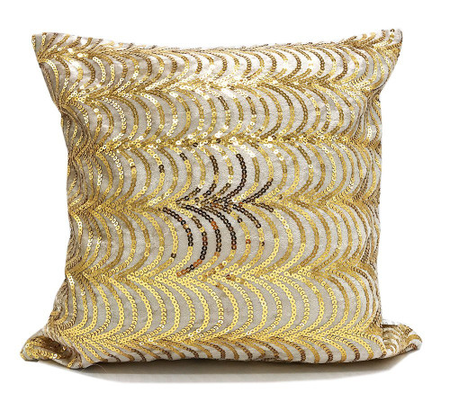 Fennco Styles Elegant Hand Beaded Gold Sequin Velvet Shiny Table Runner/ Decorative Throw Pillow