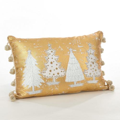 Fennco Styles Donnelou Collection Christmas Tree Design Cotton Runner/ Throw Pillow