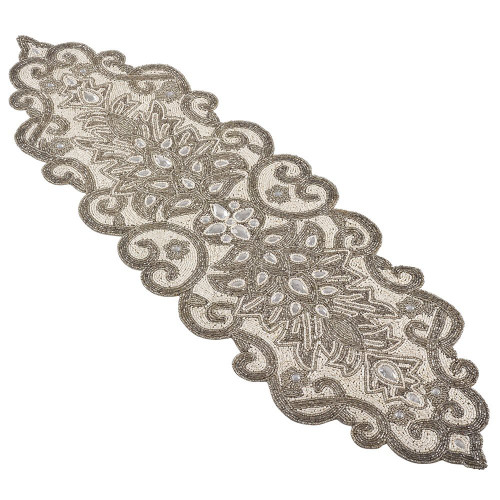 Fennco Styles Beaded Scroll Motif Table Runne - 2 Colors