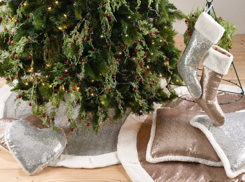 Fennco Styles Charming Sequin and Sherpa Border Christmas Tree Skirt & Stocking