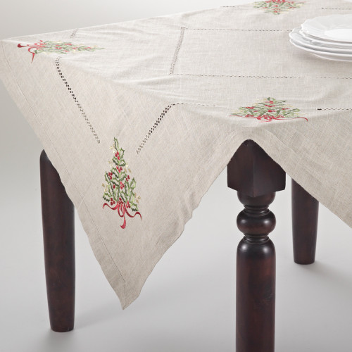 Embroidered Holly Tree Natural Tablecloth