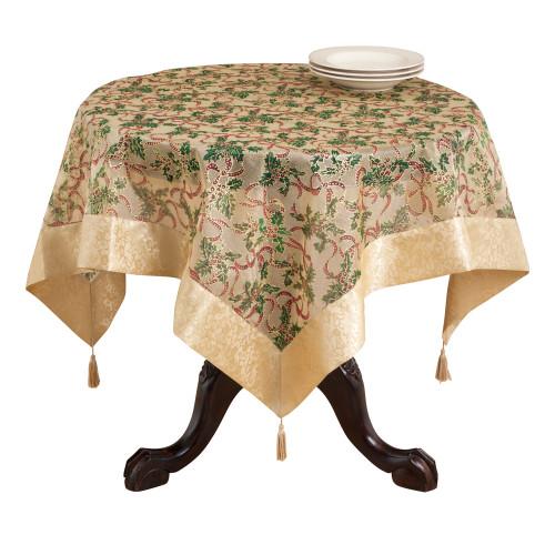 Holly Ribbon Holiday Christmas Sheer Tablecloth