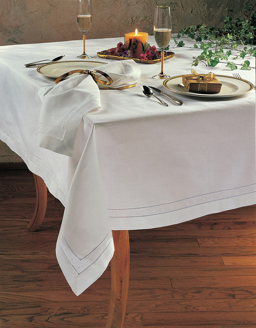 Hand Hemstitched and Embroidered Swiss Dot Tablecloth