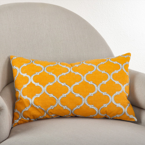 Fennco Styles Stitched Lattice Design Throw Pillow, 3 Colors