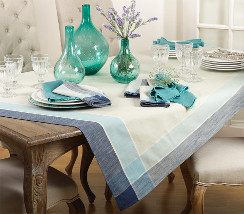 Fennco Styles Azure Blue Striped Design Tablecloth, 72-inch Square
