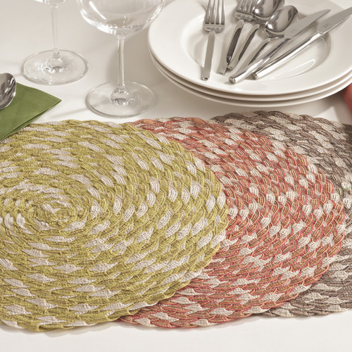Fennco Styles Iridescent Dining Round Placemat, Set of 4, 3 Colors
