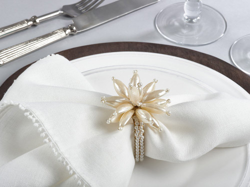 Fennco Styles Elegant Floral Pearl Napkin Rings - Set of 4