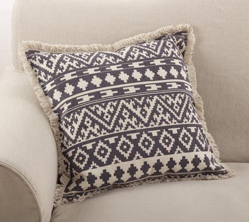 "Fennco Styles Peters Aztec Tribal Fringe Border Cotton Throw Pillow 20"" Square"