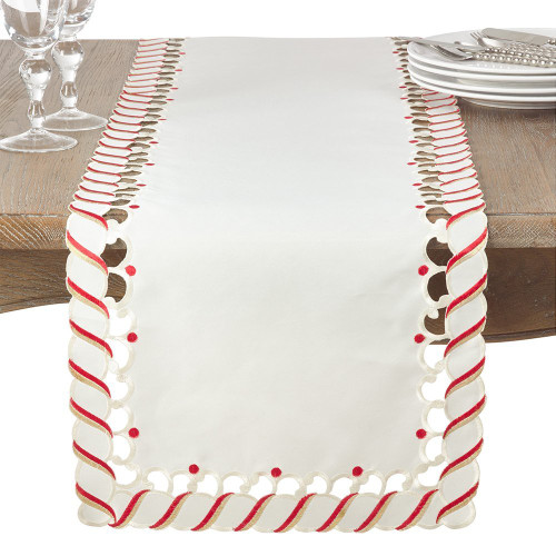 "Fennco Styles Candy Cane Design Christmas Holiday Table Runner 16""x72"""