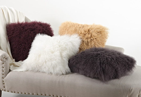 Fennco Styles Genuine Mongolian Lamb Fur Down Filled Decorative Throw Pillow, Many Colors (20-inch Square , Ivory )