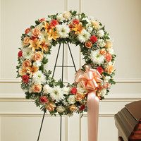 Peach, Orange & White Standing Wreath