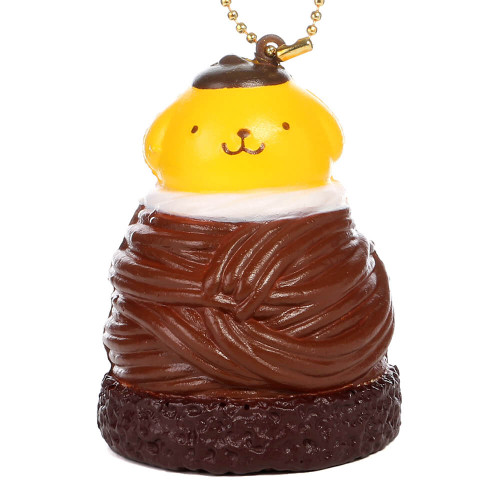 Sanrio Pom Pom Purin Pudding Dog Chocolate Mont Blanc Cake Dessert Soft Squishy Cellphone Charms - Brown