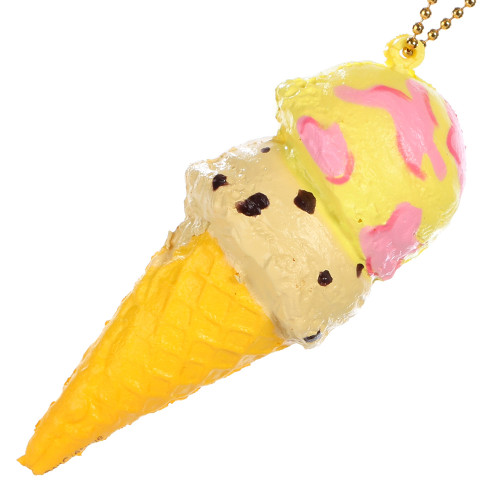 Yellow Pink Café De N Double Scoop Ice-cream Super Soft Squishy Cellphone Charms - Strawberry and Banana