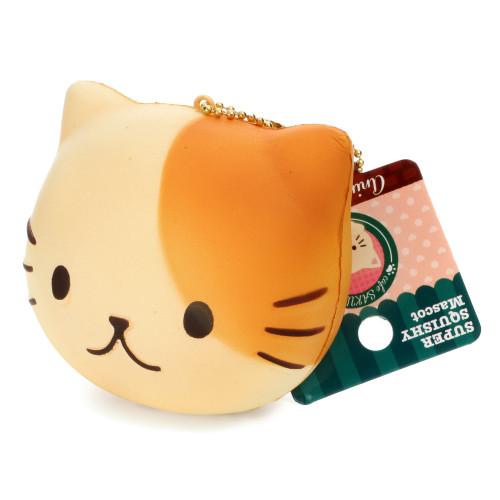 Cafe Sakura Kawaii Animal Bread Beige Cat Head Mascot Soft Squishy Charms - Baron
