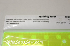 "9.5"" x 9.5"" anti-slip fluoro quilting ruler"