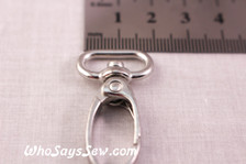 1.5cm Swivel Push Gate Snap Hooks in Shiny Nickel